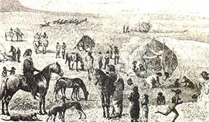 """CAMPAMENTO INDIGENA. INDIOS TEHUELCHES. DIBUJO DE JULIUS BERBOHM """"WANDERING IN PATAGONIA, OR LIFE AMONG THE OSTRICH-HUNTERS"""" Culturas índigenas de la Patagonia"""""""