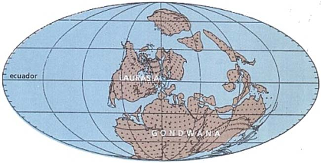Fig 1: Mapamundi paleográfico del Carbonífero temprano (según Scotese y McKerrow). Obsérvese que Laurasia incluye gran parte de América del Norte y Europa.
