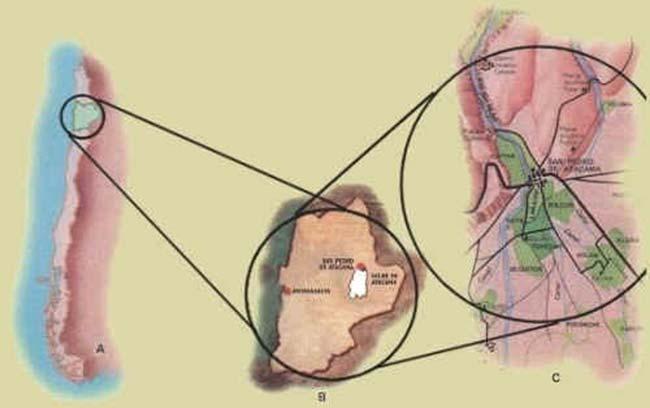 Localización geográfica de la región de San Pedro de Atacama, Norte de Chile (A y B), y vista general del desierto de Atacama con alguno de sus países (C).