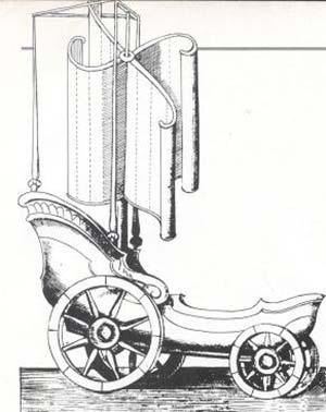 Johannes Wilkins, Mathematicall Magik or de Wonders, London 1648. Carricoche propulsado por el viento, una de las ingeniosas máquinas inventadas por el autor.