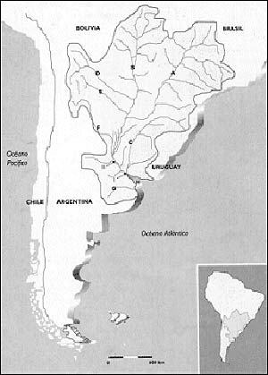 FIG. 1. MAPA DE LA CUENCA DEL PLATA. LAS LETRAS DESIGNAN LOS PRINCIPALES Ríos: (A) PARANÁ, (B) PARAGUAY, (Cl URUGUAY, ID) PILCOMAYO, (E) BERMEIO, (F) SALADO-IURAMENTO, (GI SALADO DEL SUR Y (H) DE LA PLATA. EL PARANÁ DE LAS PALMAS ESTA INDICADO (1) Y EL PARANÁ INFERIOR (II).
