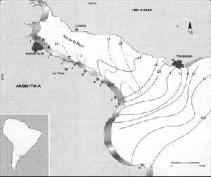 FIG. 2. RIO DE LA PLATA CON INDICACIÓN DE LAS LOCALIDADES DE SU BANDA OCCIDENTAL EN QUE SE REALIZARON ESTUDBOS SOBRE LOS QUE SE BASA ESTA NOTA. LAS LINEAS CONTINUAS SON ISOHALINAS (PUNTOS CON IGUAL CONCENTRACIÓN DE SALES) Y REFLEJAN LA SALINIDAD MEDIA DE LAS AGUAS EN EL PERIODO 1982-1987; LAS ISOHALINAS PUNTEADAS CORRESPONDEN A UNA INTRUSIÓN SALINA -FENÓMENO PROPIO DE LOS ESTUARIO ACAECIDA EL 10 DE MAREO DE 1984. (1) ANCHORENA. (2) QUILMES. (3) PUNTA LARA. (4> BALNEARIO BAGLIABOI. (5> PUNTA BLANCA. (6) ATALAYA.(7) MAGDALENA. (8) PUNTA INDIO. (9> PUNTA PIEDRAS. (A> BERNAL. (B) RETIRO. (C> TOMA DE AGUA DE LA PLATA. ORIGEN MODO DE VIGA