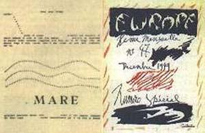 IZQUIERDA : MARE, POESIA CONRETA PUBLICADA EN EL PERIODICO FUTURISTA LACERBA,  COMPUESTO POR GODOVI, 1915 DERECHA : TAPA DE LA REVISTA EUROPE, DISEÑADA POR PABLO PICASSO, DICIEMBRE DE 1949
