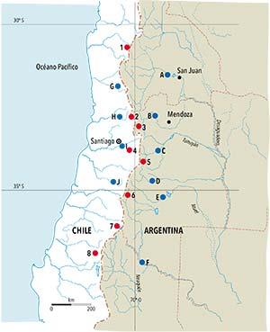 Mapa de la región de los Andes centrales entre los 30° y los 37° de latitud sur. Están marcadas las estaciones de medición de nieve y las de aforo de los caudales de los principales ríos. Los números corresponden a las siguientes estaciones nivométricas: 1. Quebrada Larga, 2. Portillo, 3. Toscas, 4. Laguna Negra, 5. Laguna del Diamante, 6. Valle Hermoso, 7. Lo Aguirre y 8. Volcán Chillán. Las letras, a las siguientes estaciones de aforo de los ríos indicados entre paréntesis: A. Km 47,3 (San Juan), B. Guido (Mendoza), C. Valle Uco (Tunuyán), D. La Jaula (Diamante), E. La Angostura (Atuel), F. Buta Ranquil (Colorado), G. Cuncumen (Choapa), H. Chacabuquito (Aconcagua), I. El Manzano (Maipo) y J. Los Briones (Tinguiririca).