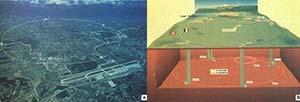 Izq.: Vista aérea del acelerador LEP (Large Electron-Positron Collider) ubicado en el Centro Europeo de Investigaciones Nuecleares (CERN). Der.: Se observan mas de cuatro áreas experimentales correspondientes a los detectores ALEPH, DELPHI, L3 y OPAL. Estas áreas experiemtales están construidas en sitios subterráneos de aproximadamente 20m x 60m x 35m de altura. En la Superficie, se encuentran los edificios con todos los servicios para el acelerador y los experimentos.