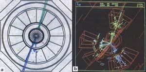 """Figura 2 (a y b) Evento de dos chorros (a) y de tres chorros (b) reconstruidos a partir de los datos recogidos por el detector L3. Las líneas en el detector central representan las trazas de las partículas cargadas. El tamaño de las barras en el calorímetro electromagnético y el de las cajas en el calorímetro hadrónico (para una descripción del calorímetro de L3, ver recuadro """"Detectando Partículas"""") se corresponden con la cantidad de energía depositada en ese punto."""