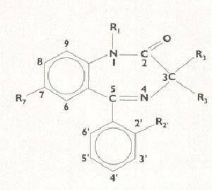 Fig 5 Estructura del nucleo de las benzodiazepinas y  naturaleza de los requerimientos necesarios  para que sean activos. Se requiere el anillo 1.4 benzodiazepinico un atomo o grupo captador de  electrones en t. como cloro bromo o fluor o bien  grupos nitro (NO2) o grupos azida (N3) cloro, bromo o fluor en la posicion 2 un fenilo en la posición 5