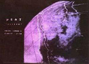 """Fig. 4. Imágenes del territorio argentino enviadas por """"VÍCTOR"""", obtenidas mediante una cámara de campo amplio (baja definición)"""