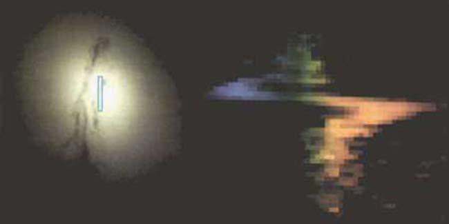 Fig 3. La imagen de la izquierda muestra el núcleo de la galaxia M84, lugar en el cual podría hallarse un agujero negro. La imágen de la derecha obtenida por el STIS, muestra el cambio de registro en la longitud de onda. La estructura en forma de S indica un rápido giro del disco gaseoso. La región azul señala el trayecto de la órbita de onda en la cual se aproxima al STIS, mientras que la región roja indica el trayecto en el cual el gas se aleja del instrumento de observación.