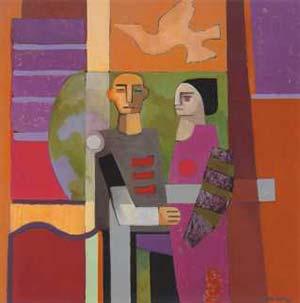 """Pareja en el jardin"", Oscar Levaggi, 1992. Oleo sobre tela, 70 x 70cm."