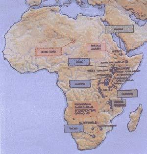 Figura 1- Mapa de Africa en el que se indican los sitios donde han sido hallados restos de Australopithecus y de los primeros Homo