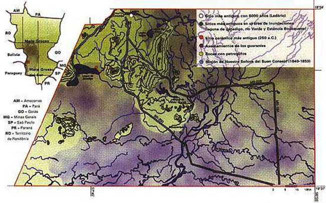 Fig.1. El área de estudio del Proyecto Corumbá, vinculado al Programa Arqueológic del Matto Grosso del Sur, que abarca el municipio del mismo nombre en ese estado.