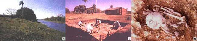 Fig 6. Dique fluvial del río Verde (A), próximo al lugar de excavación (B), donde fue encontrado un cementerio con los restos de los antiguos habitantes del Pantanal (C).