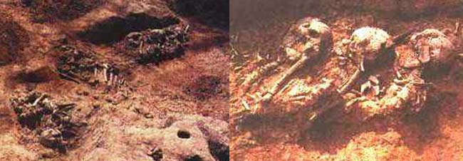 Izq.: Fig 7 Entierro primario de cuerpos enteros. Der.: Fig 8 Entierro secundario de huesos descarnados