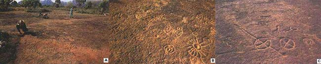 """Fig 9. Los arqueólogos limpian la roca horizontal con petroglifos en la estancia Figueirinha (A), en la base de la """"morraria"""". Detalles de los dibujos entrados en ese lugar (B) y en la estancia Laje de Pedra (C)."""