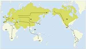 Cronología de la dispersión de los perros por el mundo. Las cifras indican miles de años antes del presente; todos los valores son aproximados y el que aparece en rojo señala lugar y momento probable más reciente en que habría tenido lugar su domesticación a partir del lobo (Canis lupus, arriba), cuya área natural de dispersión se indica coloreada. Si bien hay amplio acuerdo sobre el ancestro del perro, acerca del lugar, el momento y los detalles del proceso de domesticación hay diversidad de criterios. Wikimedia Commons