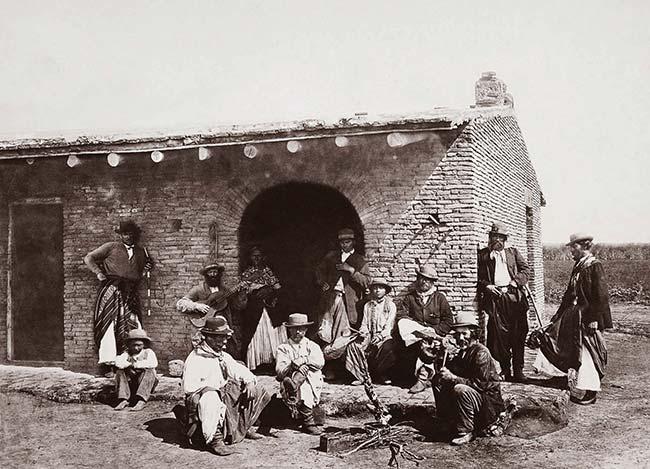 Benito Panunzi, Pobladores del campo, ca. 1866. Colección Carlos Sánchez Idiart