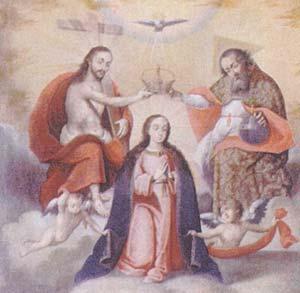 Fig 4, Mateo Pisarro (Atrib), Coronación de la Virgen por la Trinidad, ultima decada del siglo XVII, o primeras del XVIII, 78.5cm x 83cm. Tecnica mixta sobre tela. Atico del retablo de San Jose, Iglesia de Yavi, Jujuy.