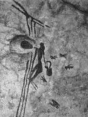 Figura 1. Pintura rupestre hallada en Bicorp, Valencia, que muestra una persona acercándose a un panal colgado de una rama de árbol.