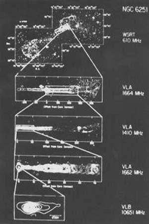 Montaje fotográfico de distintas imágenes del objeto NGC 6251, donde pueden observarse detalles de la estructura del objeto a distintas resoluciones. La imagen inferior corresponde al núcleo, la superior a todo el objeto, y en las restantes se aprecian distintas partes de uno de los jets. A la derecha de cada imagen se detalla el nombre del instrumento (radiotelescopio) con que se le observó y la frecuencia de observación.
