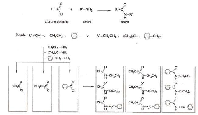 Fig 1. Un ejemplo de sintesis combinatoria en conjunto. Tres cloruros de acilo que difieren entre sí por la composición química del grupo señalado con R´ y tres aminas que lo hacen por la composición química del grupo señalado domo R´´ reaccionan entre sí a través de sus respectivos grupos amina y cloruro de acilo para dar nueve amidas, que difieren en las nueve combinaciones distintas que se puede hacer formando pares constituidos por uno de los tres grupos R´y uno de los tres grupos R´´. En el ejemplo de la figura se muestran tres recipientes que inicialmente contienen una de las tres substancias que portan el cloruro de acilo, y que reacciona con las tres aminas. De ese modo se obtienen en cada recipiente tres de las nueve amidas posibles.