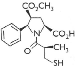Fig. 7. Mercaptoacil prolina que fue descubierta mediante síntesis combinatoria.  En ensayos experimentales posee una actividad antihipertensora tres veces más potente que la del conocido captopril.