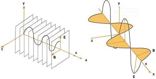 Fig 1. Una onda electromagnética está compuesta de dos campos oscilantes: uno eléctrico, E y otro magnético, B, perpendiculares entre sí y perpendiculares a la dirección de propagación. Se puede ver que el campo eléctrico oscila contenido en el plano definido por los ejes x e y. En este caso, se dice que la onda presenta una polarización lineal.