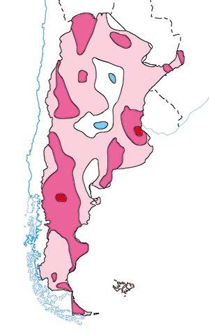 Figura 1. Cambio de la temperatura media anual en la Argentina entre 1960 y 2010. Los contornos indican cambios de 0,5°C. En rosado claro, zonas en que se registró un aumento de 0,5°C; en rosado oscuro, aumento de 1°C; en rojo, aumento de 1,5°C; en blanco, sin cambio; en azul, disminución menor que 0,5°C. Dada la escala del mapa, debe considerarse un esquema aproximado.