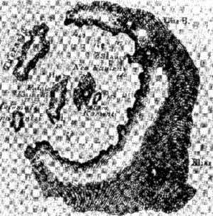 Distribución de las islas griegas, cuya topografía era indicio suficiente, según la primera edición de los Principles of Geology, de Charles Lyell, de que en el pasado rodearon el cráter de un volcán. La mayor, Santorin, se consideraba posible ubicación de la Atlántida platónica.