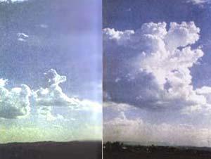 """Izq.: Fig1 Las nubes (cúmulos -típicas) tienen un ancho y alto de centenas de metros y, al unirse. Der.: Fig2 Algunas nubes cúmulos, mayores son denominadas cúmulos swelling, es decir """" infladas"""""""