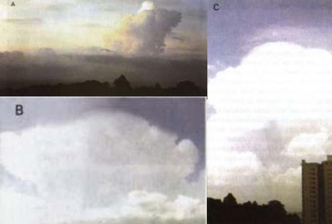 Fig 4 Las nubes cúmulonimbus asumen varias formas, como la  (A) - Cv calvus  (B) - Cb capillatus  (C) - Cb pileos