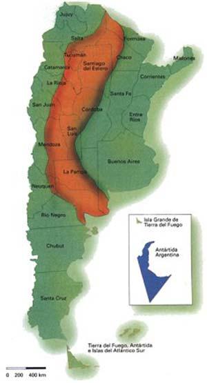 Distribución de las tortugas terrestres (chelonoides chilensis, C. donosobarrosi y C. petersi) en la República Argentina (elaboración propia a partir de Cei, 1986)