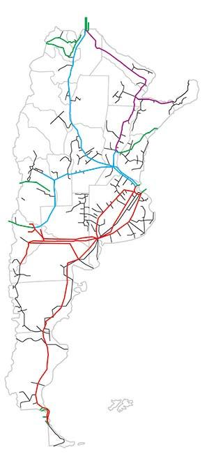 Red de gasoductos de la Argentina. Las líneas troncales, diferenciadas por empresa transportadora, se muestran en color (las verdes fueron construidas para exportar). En negro, los ramales de distribución. En el noreste del país falta construir algunos tramos mostrados.