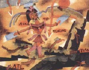 TLALOC, 1923, ACUARELA SOBRE PAPEL, 26 x 32 CM. COLECCIÓN FRANCISCO TRABA, BUENOS AIRES