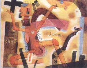 POR SU CRUZ JURA, 1923, ACUARELA SOBRE PAPEL MONTADA EN CARTÓN, 25.8 x 32.2 CM. COLECCIÓN EDUARDO Y TERESA CONSTANTINI, BUENOS AIRES.